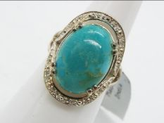 A Cochise Turquoise & White Topaz Sterling Silver Ring size L to M issued in a limited edition 1 of