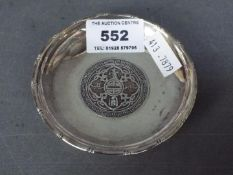 A Sterling silver pin dish, with 1929 One Dollar centre, hallmarked, made in Hong Kong,