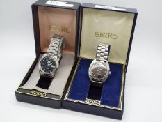 Two boxed Seiko wristwatches to include an automatic Seiko 5 and one other.