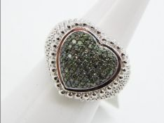 A 1/2 ct Green Diamond Sterling Silver Ring size L to M issued in a limited edition 1 of 286 with