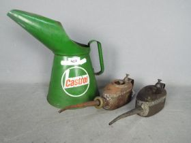 Autmobilia - Two vintage Kaye's oil cans and a two litre Castrol oil can.