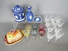 A mixed lot to include glassware, Wedgwood Jasperware, Shorter & Son Ltd butter dish.