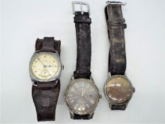 Three vintage wristwatches comprising a Tissot, Tempex and Timex.