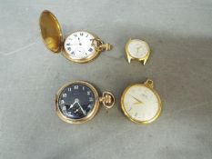 Two gold plated full hunter pocket watches (one lacking cover) and two Oris watches