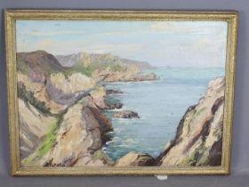 A framed oil on canvas, coastal landscap