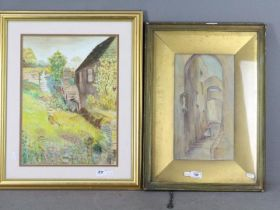 Lot to include a watercolour depicting a