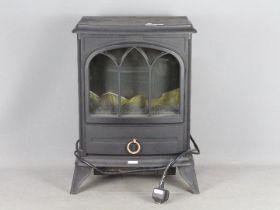 A wood burning effect electric fire.