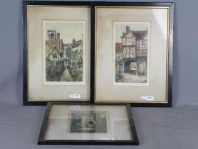 Three coloured etchings depicting Tudor