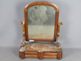 A Victorian toilet mirror with twin draw