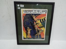 A framed circus poster, approx 54 cm (h)
