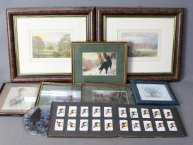 A collection of framed prints and a ciga