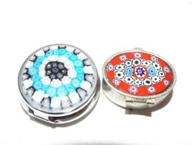 Two pill boxes, approx 4 cm