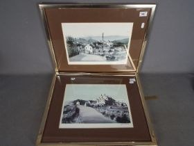 J A Hurley - two signed prints depicting