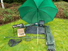 Carp / Barbel / Fresh water course fishing / camping / Set up - Large umbrella, Instent tent,