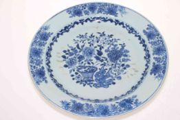Large late 18th Century Chinese blue and white plate, 34.5cm diameter.