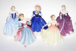 Five Royal Doulton figures; three Figures of the Year, Mary, Deborah and Amy,