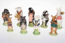 Beswick nine piece 'Pig' band. Condition: All Good.
