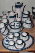 Wedgwood Blue Pacific tableware, thirty eight pieces including coffee and teapots.