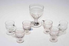Georgian glass rummer with engraved decoration, together with six custard glasses.