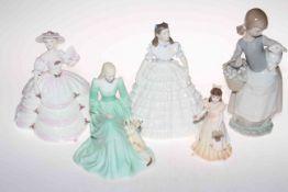 Three Coalport Ladies of Fashion, small Coalport 'Follow the Bride; Lladro girl with pet lamb A/F,