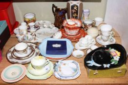 Collection of decorative china including Beswick wall hat, Shelley pieces, pair Continental jugs,