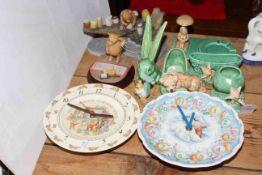 Seven Wedgwood Beatrix Potter collectors plates, Royal Doulton Bunnykins and Snowman wall clocks,