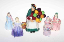 Four small Royal Doulton figures, Wendy, Lucy Ann, Marie and Bo Peep,