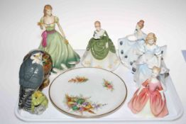 Five Royal Doulton figures, Debbie, Kathy, Soiree, Spring Stroll and Laura (arm repaired),