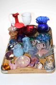 Collection of over twenty five pieces of decorative glass including Murano dish,