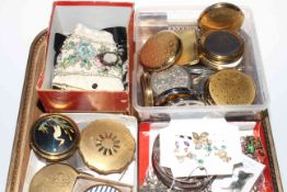 Collection of over twenty compacts (all used), together with jewellery and beadwork.