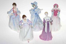 Five Royal Doulton ladies, limited edition Mrs Hugh Bonfoy, Forget-Me-Nots, Gentle Breeze,