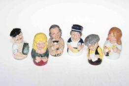 Six Royal Doulton figure candle snuffers, Dr Pulse, Miss Nostram, Flora Fuchsia, Albert Sagger,