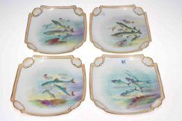 Set of four Franz Anton Mehlem fish decorated plates, 22cm across.