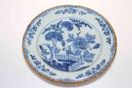 18th Century Delftware blue and white plate, 32cm diameter. Condition: Chips to rim.