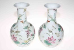 Collection of six Oriental vases including large vase with figure decoration, 31cm high.