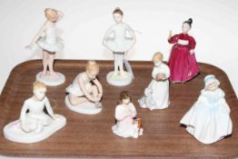 Four Royal Doulton Ballet figures and four other figures, Dinky Do, Innocence,