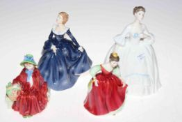 Four Royal Doulton figures, Linda, Fair Maiden, Fragrance and HN3222. Condition: All Good.