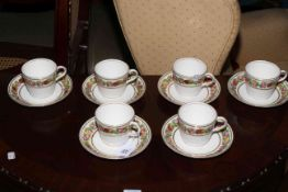Set of six Continental flower painted cups and saucers. Condition: All Good.