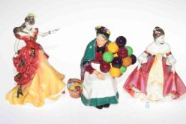 Three Royal Doulton figures, The Old Balloon Seller, Belle and Southern Belle. Condition: All Good.