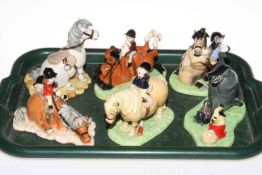 Six Royal Doulton limited edition Thelwell models. Condition: All Good.