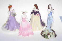 Four Coalport figures, limited edition Shakespearean Ariel and Blue Violets,
