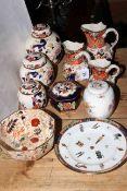 Masons ware, three Oriental Garden jugs, three Mandalay ginger jars,