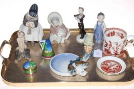 Tray lot with three Royal Copenhagen figures, Royal Worcester Lazy Days snuffer and pill box,