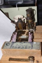 Patterson Type 1A miners lamp, Sunderland lustre 'Prepare to meet they God' plaque,