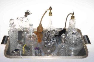 Silver pig pin cushion, crystal swan with silver wings, glass scent bottles, knifes rests,