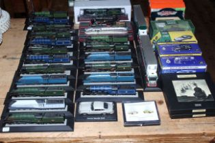 Collection of Corgi and other model trains, two Eddie Stobart model trucks,