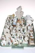 Wagner bust and collection of crested china including cup and saucer, vases, shoe, etc.