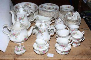 Royal Albert Moss Rose part tea and dinner service including teapots, gravy boat, napkin rings,