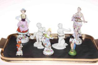 Pair of Nymphenburg Blanc de Chine figures, four Continental figures and Naples figure.