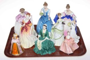 Six Royal Doulton figurines, Sara, Helen, Ashley, Thinking of You, Fiona and Lady from Williamsburg,